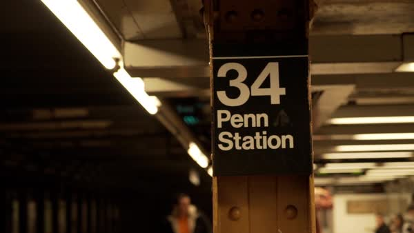 Close-up of subway sign identifying Penn Station, New York City, New York, USA Royalty-free stock video
