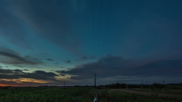 Timelapse as sunset turns to twilight over countryside Royalty-free stock video
