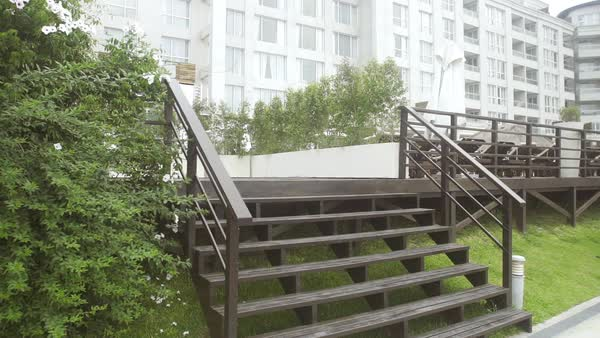 Approaching stairs leading to deck at luxury hotel Royalty-free stock video