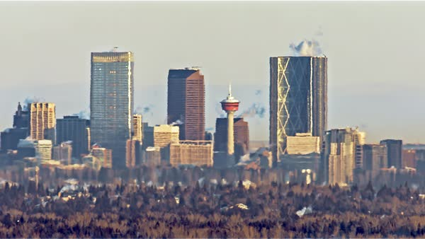 Static shot of Calgary cityscape seen through heat haze Royalty-free stock video
