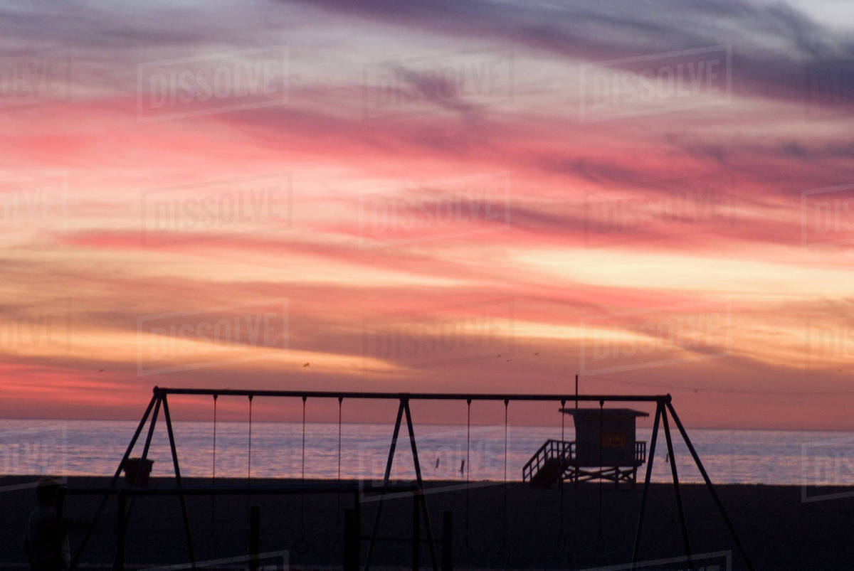 Backlit Swings At Sunset Santa Monica Beach