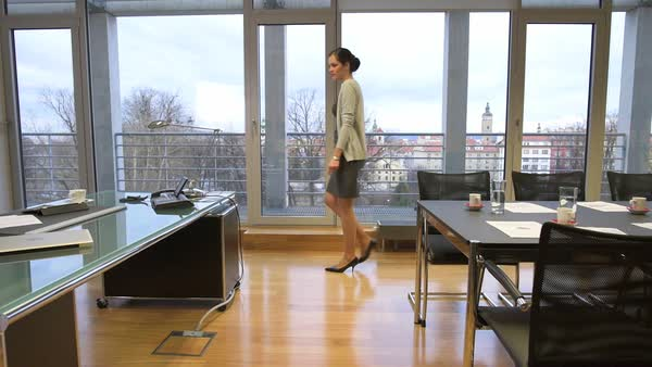 Young Business Woman Walks Through Her Office To Desk Slow Motion Royalty Free Stock