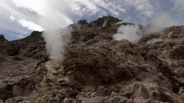 Inside volcano crater with fumaroles, sulphur and steam Royalty-free stock video