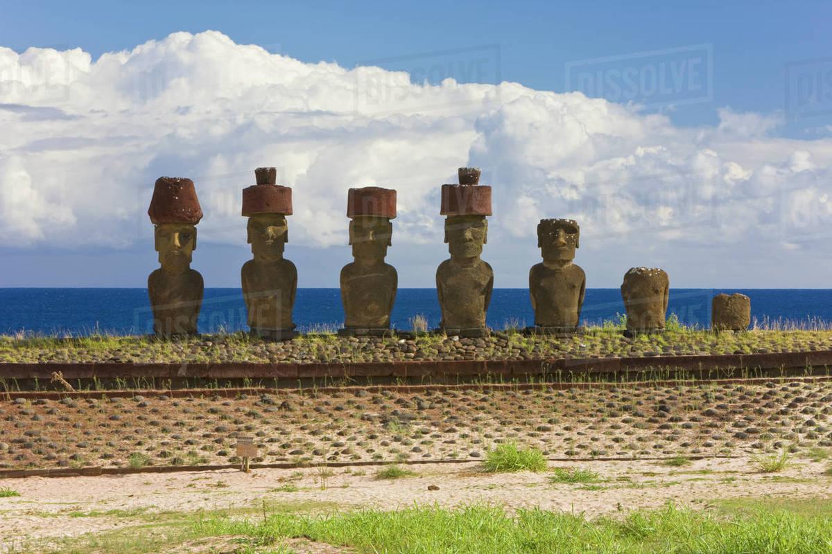 Anakena Beach Monolithic Giant Stone Moai Statues Of Ahu Nau Four Which Have Topknots Isla De Pascua Easter Island Rapa Nui Chile 2008