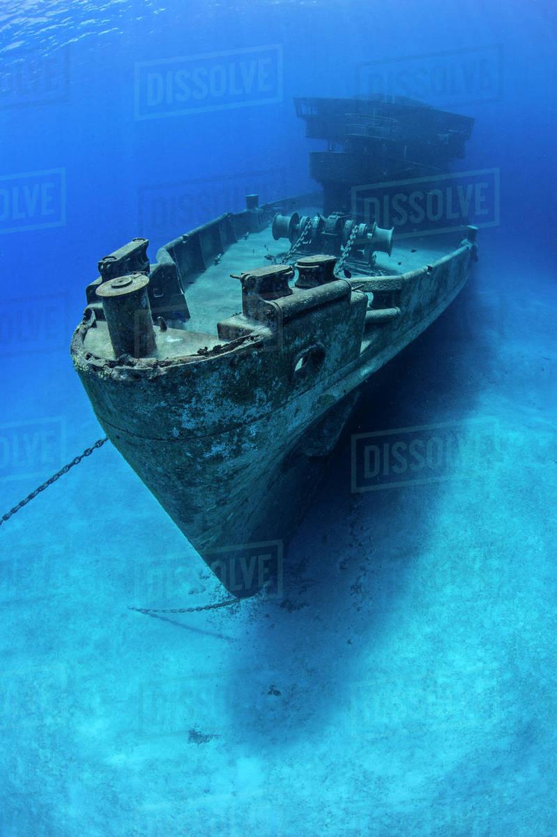 bow of the uss kittiwake wreck seven mile beach grand cayman