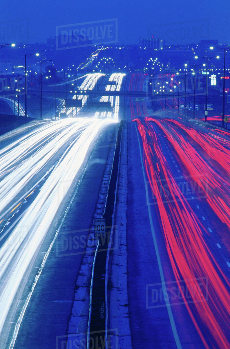 Traffic at Night on Highway 401 Toronto, Ontario, Canada stock photo