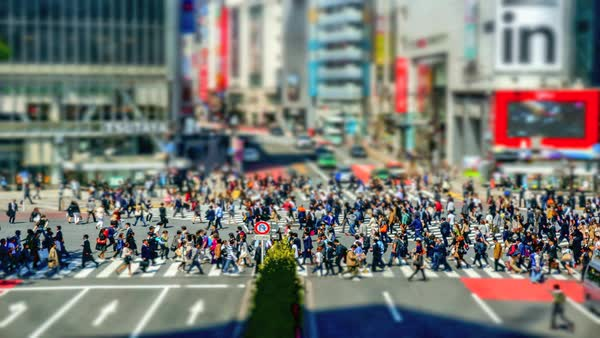 Miniature timelapse of famous Shibuya crossing road on April 15, 2014 in Tokyo, Japan. Royalty-free stock video