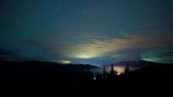 Astrolapse of clouds and stars over Dunsmuir and Mt. Shasta, California. Royalty-free stock video