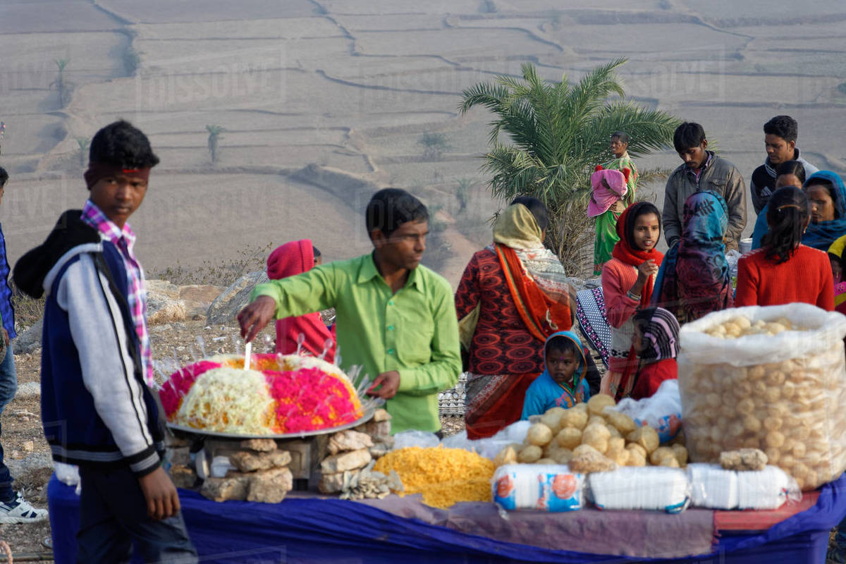 Local people selling street food in an Indian hilltop rura Royalty-free stock photo