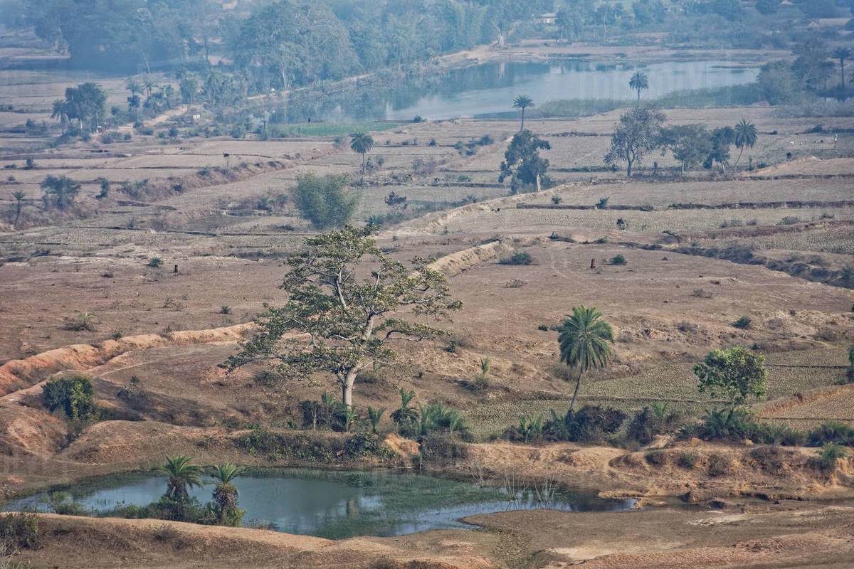 Top view of Indian rural landscape with dry land and water bodies. Royalty-free stock photo