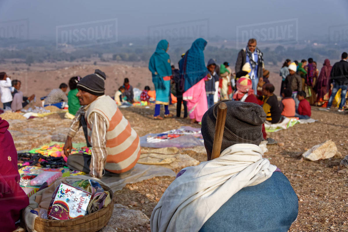Gathering of Indian people on a hilltop fair. Royalty-free stock photo