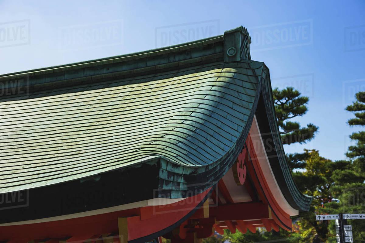Tiled Roof at Fushimi Inari Shrine In Kyoto, Japan Royalty-free stock photo