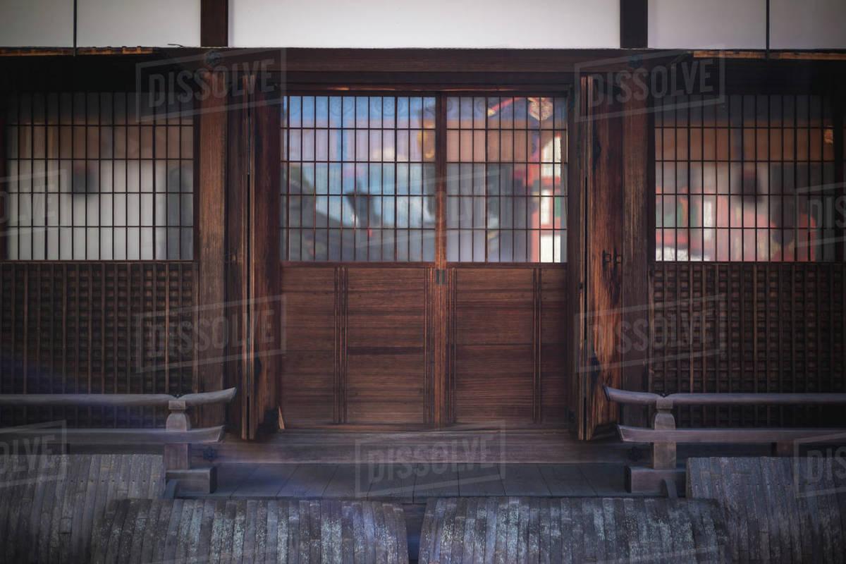 Traditional Wood Door at Fushimi Inari Shrine in Kyoto, Japan Royalty-free stock photo