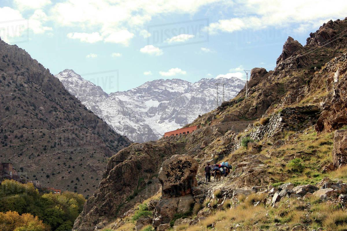 Atlas Mountains trail scenic view, Morocco Royalty-free stock photo
