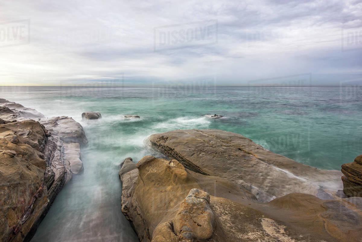 Rocky La Jolla coastline on a December morning. Royalty-free stock photo