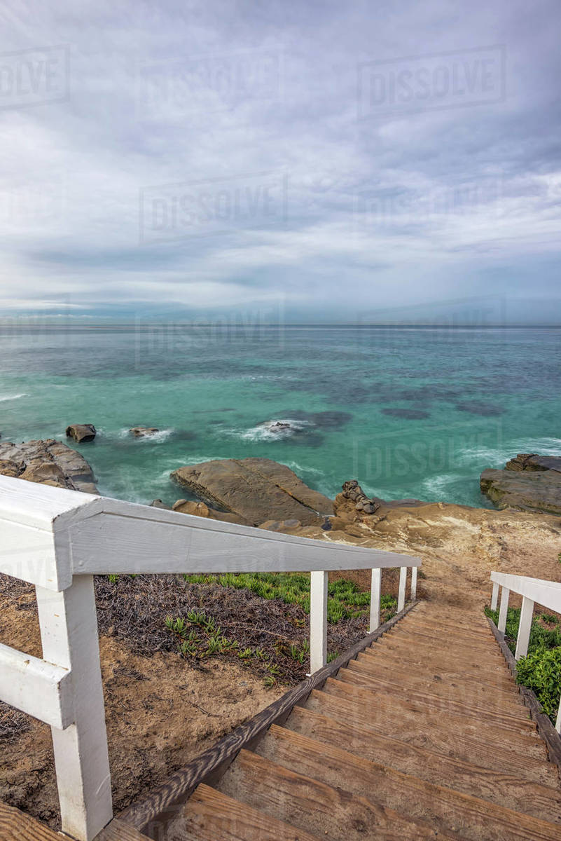 Stairs leading down to Windansea Beach. Royalty-free stock photo