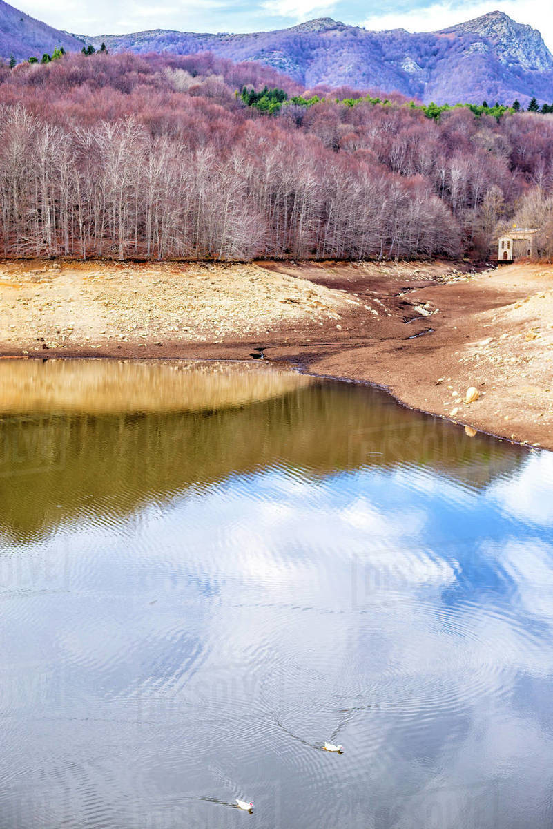 Scenic view of mountain lake during a drought Royalty-free stock photo