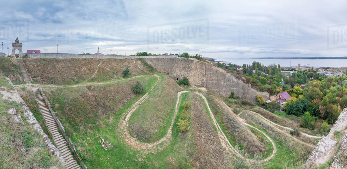The old wall and the descent to the salt estuary Kuyalnik in Odessa Royalty-free stock photo