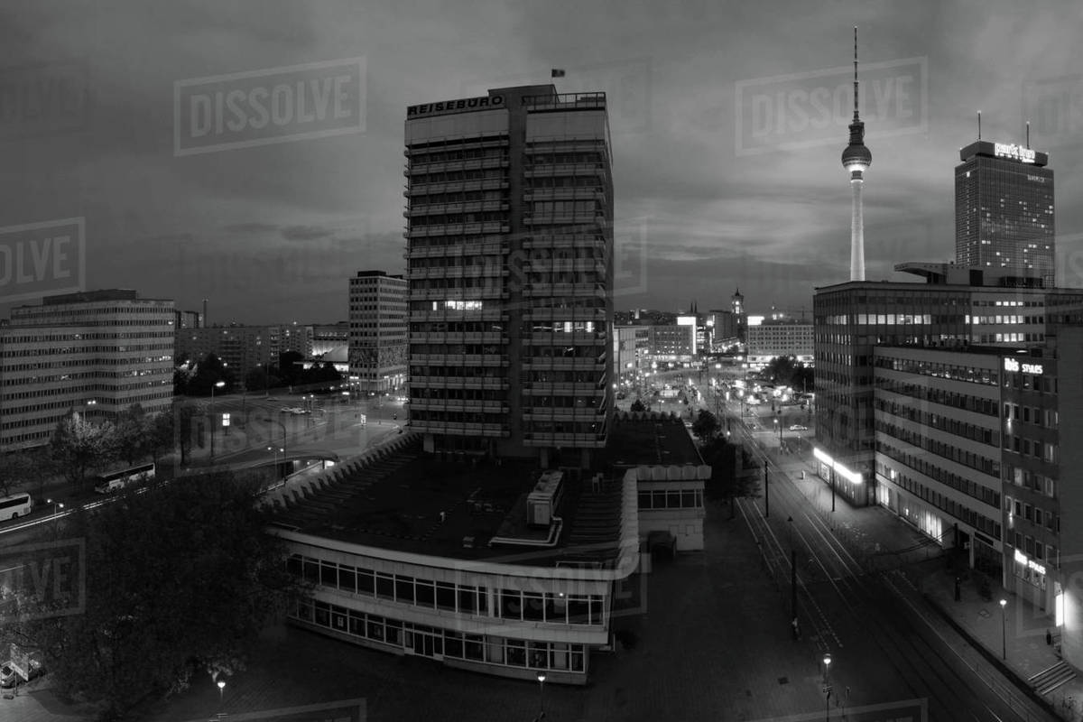 Alexander Platz and the TV tower in the night. Royalty-free stock photo