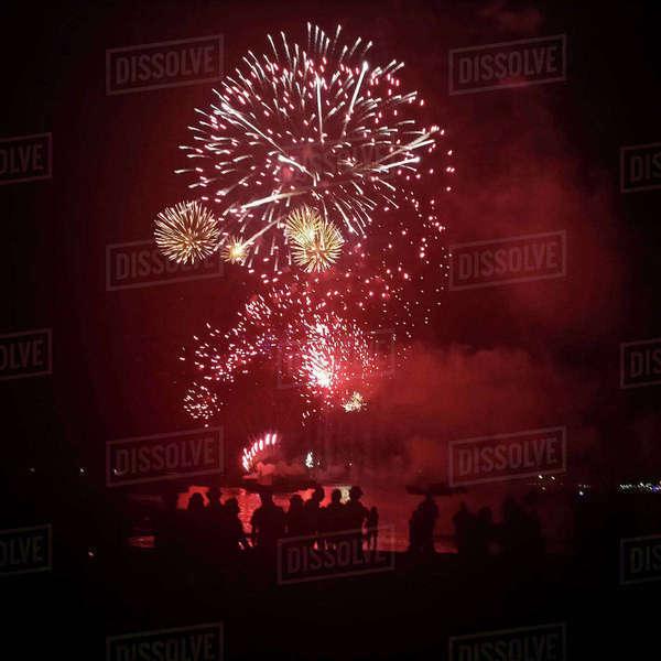 People watching fireworks display in sky at night Royalty-free stock photo