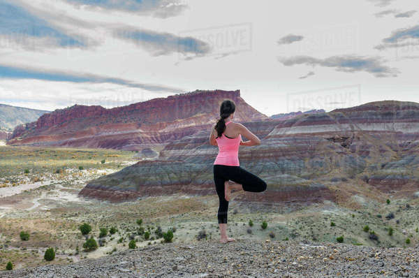 Rear view of woman standing in tree pose on rock formation Royalty-free stock photo