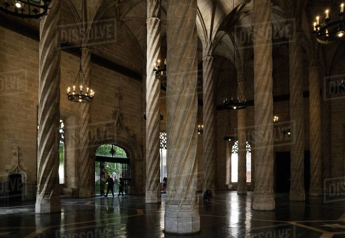 View of the interior of the old silk market. Gothic style building Royalty-free stock photo