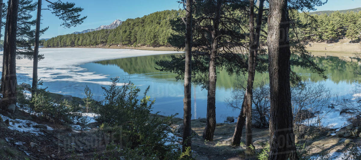 In Winter the Frozen Lake of Engolasters, Encamp, Andorra. Royalty-free stock photo