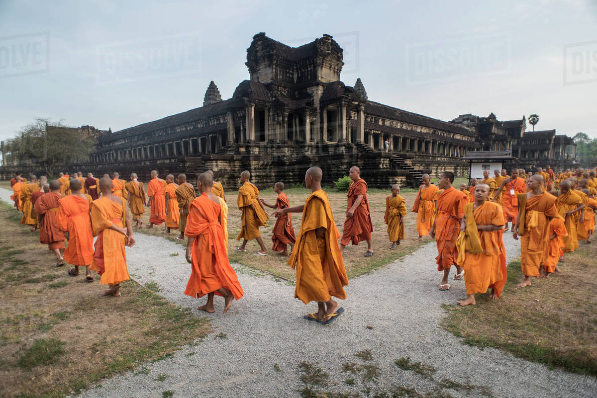 Large group of Buddhist monks during the celebration of the Visak Bochea at the Angkor Wat temple, Siem Reap, Cambodia. Royalty-free stock photo