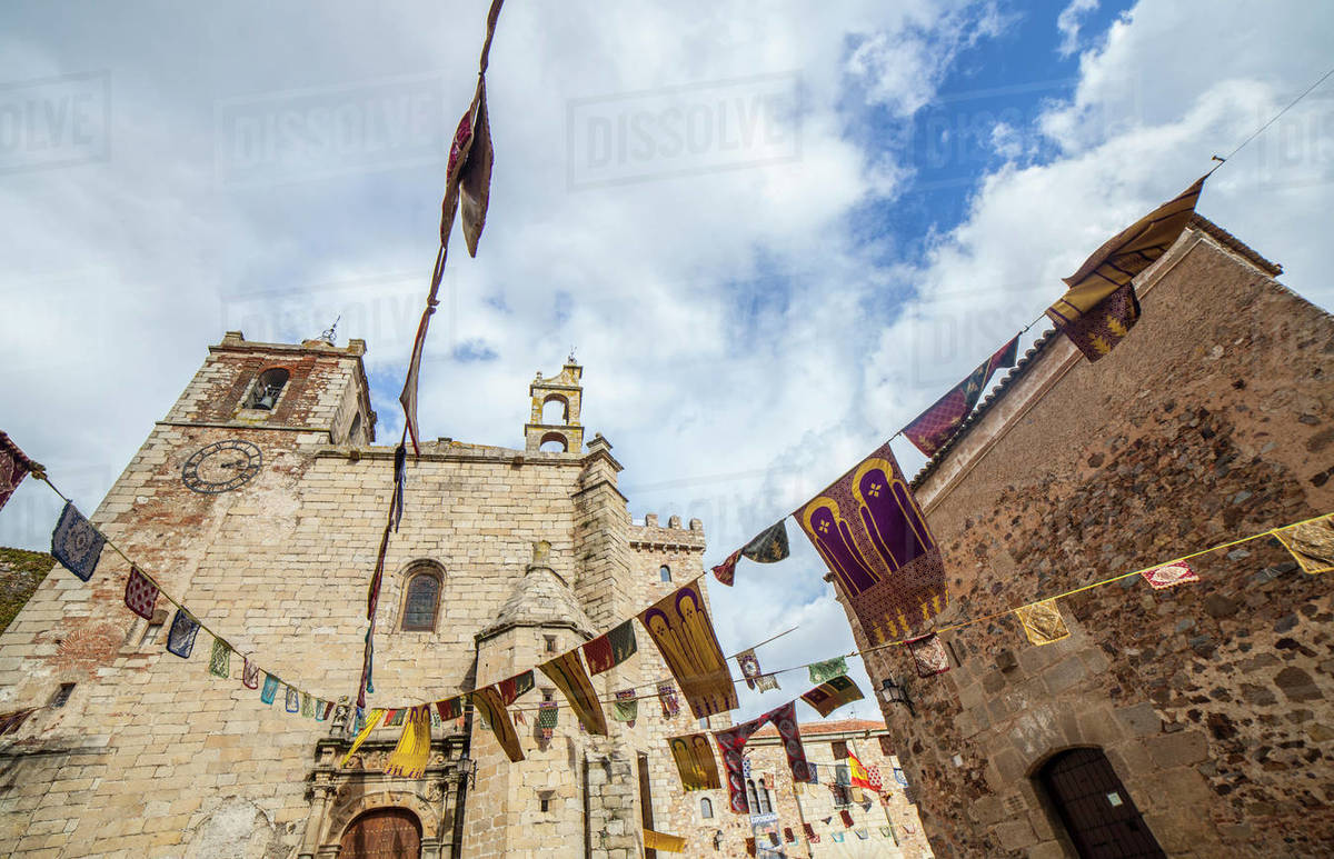 San Mateo square at Caceres Old Quarter, Spain Royalty-free stock photo