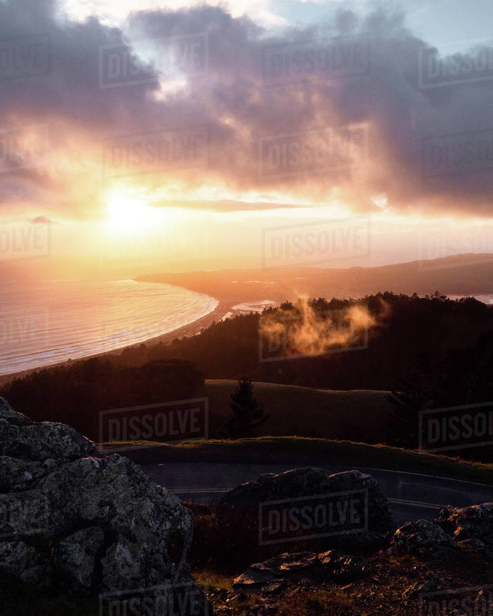 Gold Fog and Sunset Royalty-free stock photo