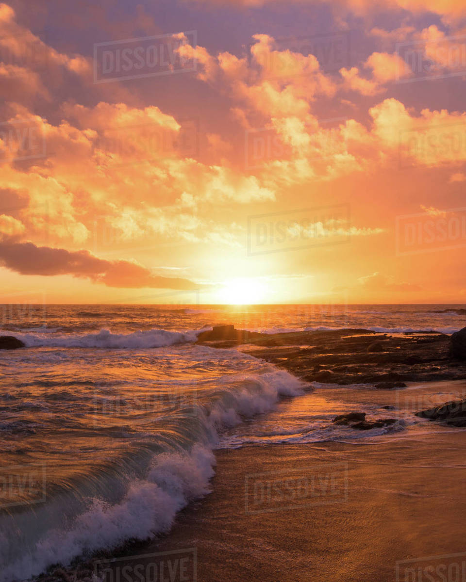 Wave break Sunset Royalty-free stock photo