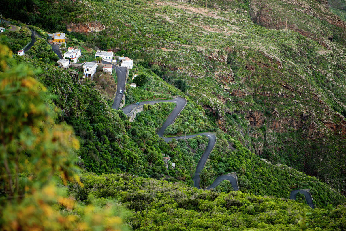 Scenic view from above of winding road through mountains in Tenerife Royalty-free stock photo
