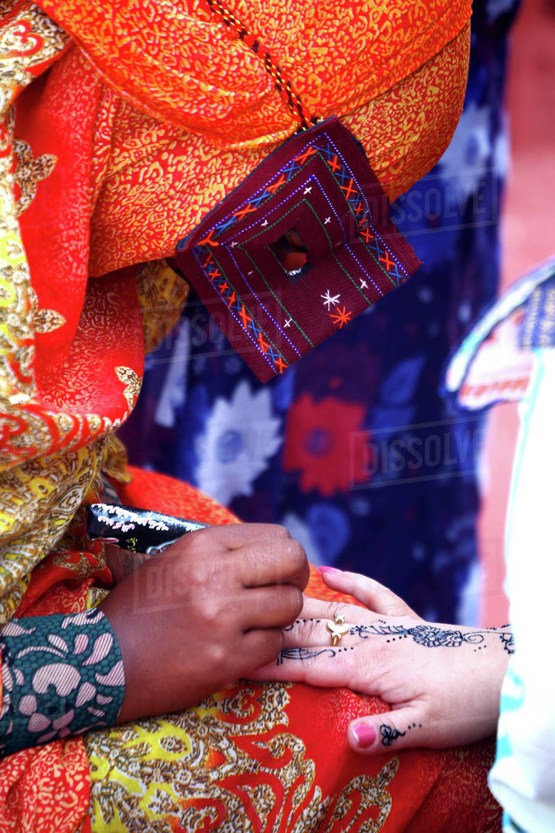 Bandari Woman Wearing A Traditional Mask Royalty-free stock photo