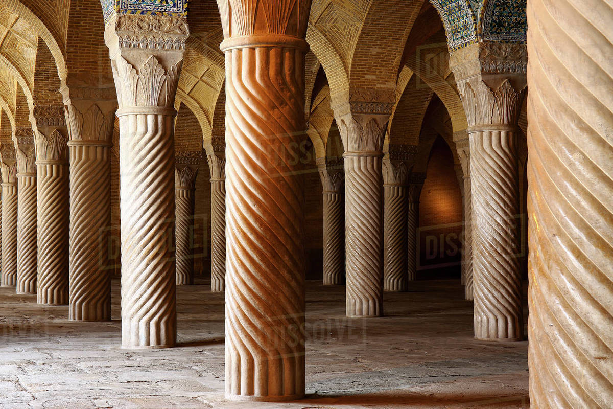 Vakil mosque, a mosque in Shiraz, in southern Iran. This mosque was built between 1751 and 1773, during the Zand period Royalty-free stock photo