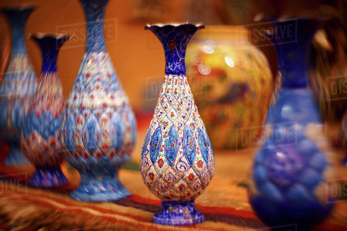 Different Iranian clay vases near the wall in Yazd. Iran Royalty-free stock photo