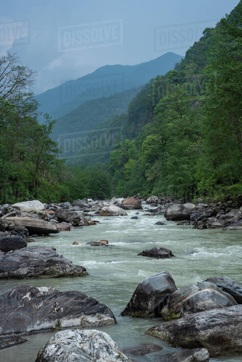 Flowing water in the stream Valley Royalty-free stock photo