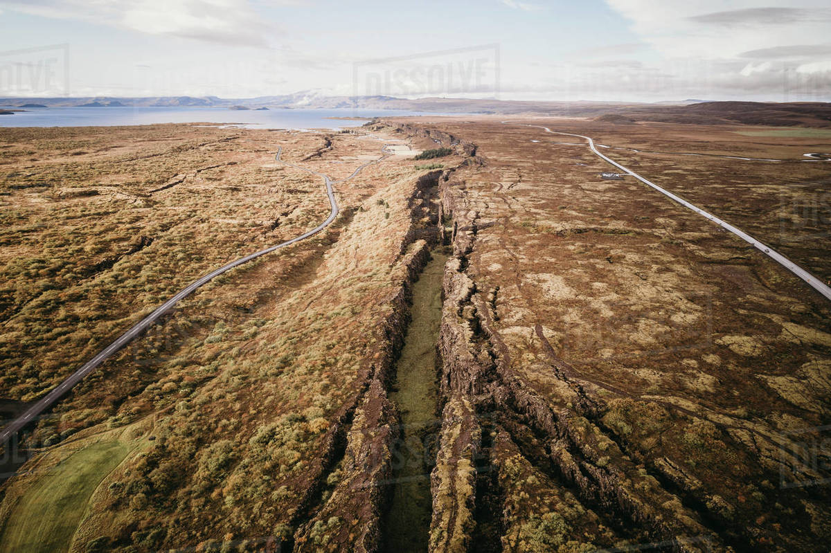 Pingvellir  national park in Iceland from aerial view Royalty-free stock photo