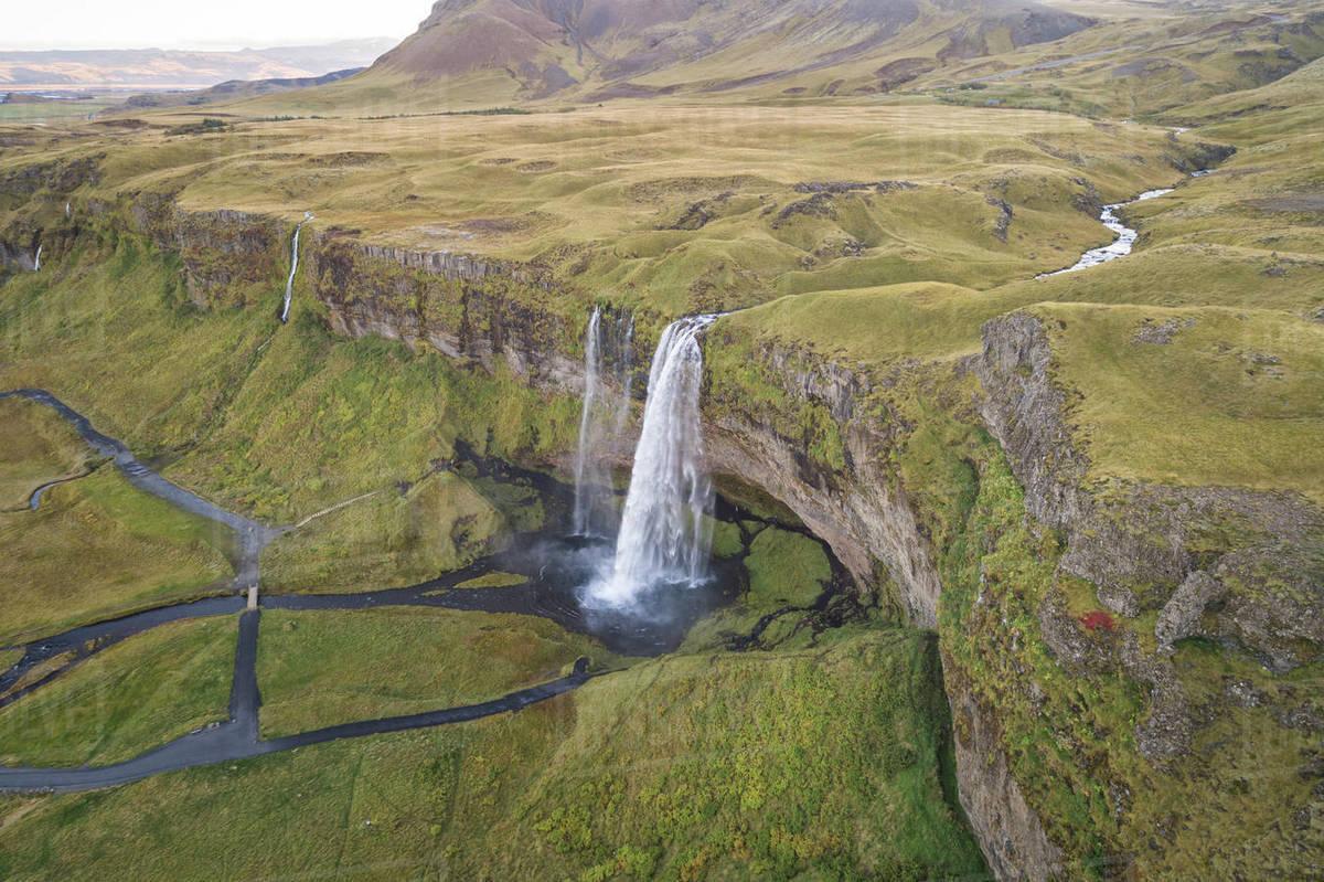 Seljalandfoss waterfall from aerial view Royalty-free stock photo