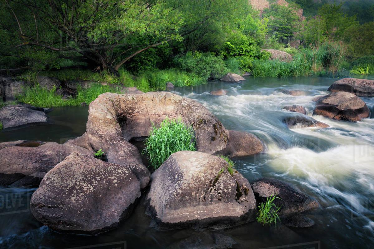 River cascades at summer morning Royalty-free stock photo