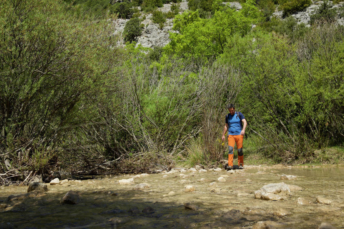 Hiking in Mascun Ravine in Guara Mountains. Royalty-free stock photo
