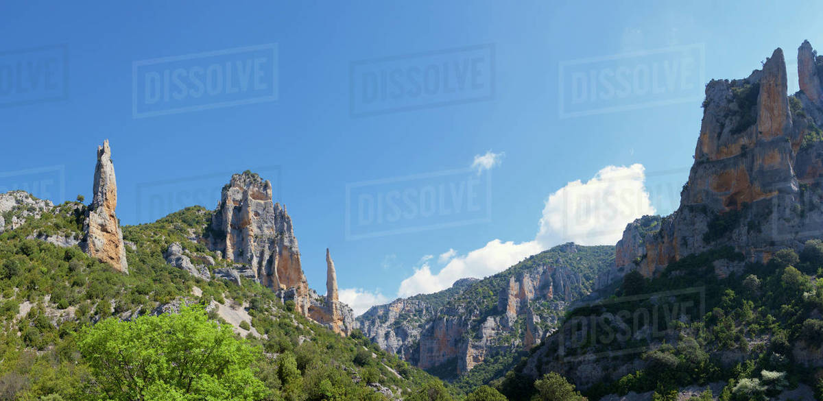 Rocky spires in Mascun Ravine in Guara Mountains. Royalty-free stock photo