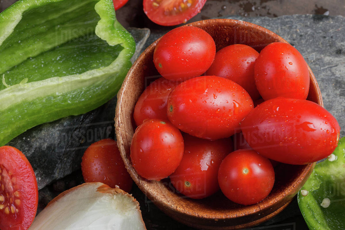 Fresh red tomatoes and pepper Royalty-free stock photo