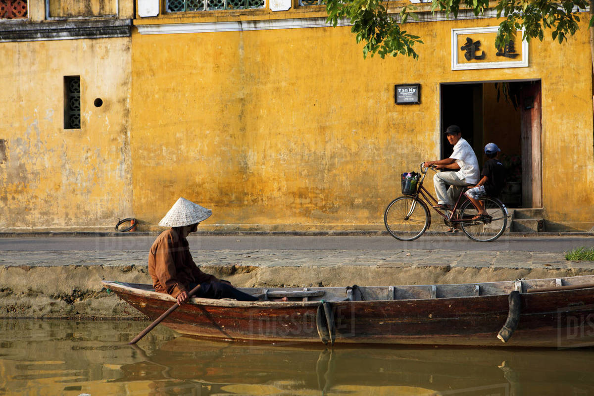 Riverside Scenes in the Historic District of Hoi An, Vietnam Royalty-free stock photo