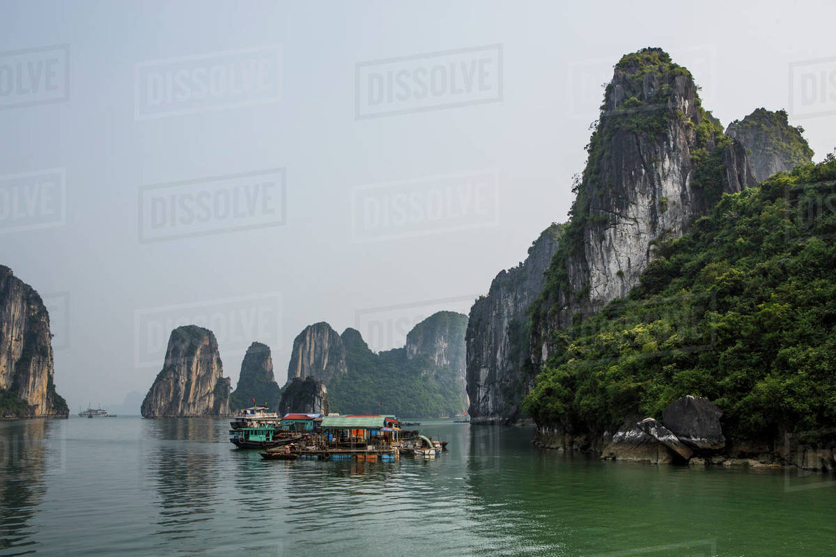 Boats and Floating Homes in Halong Bay, Vietnam Royalty-free stock photo