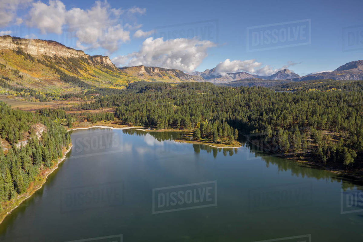 Scene of mountain lake and mountains in fall season. Royalty-free stock photo