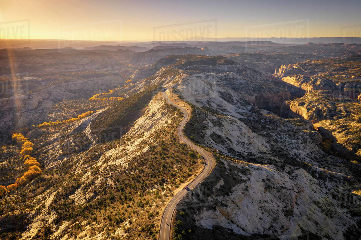 View of winding road on the spine of a ridge from the air. Royalty-free stock photo