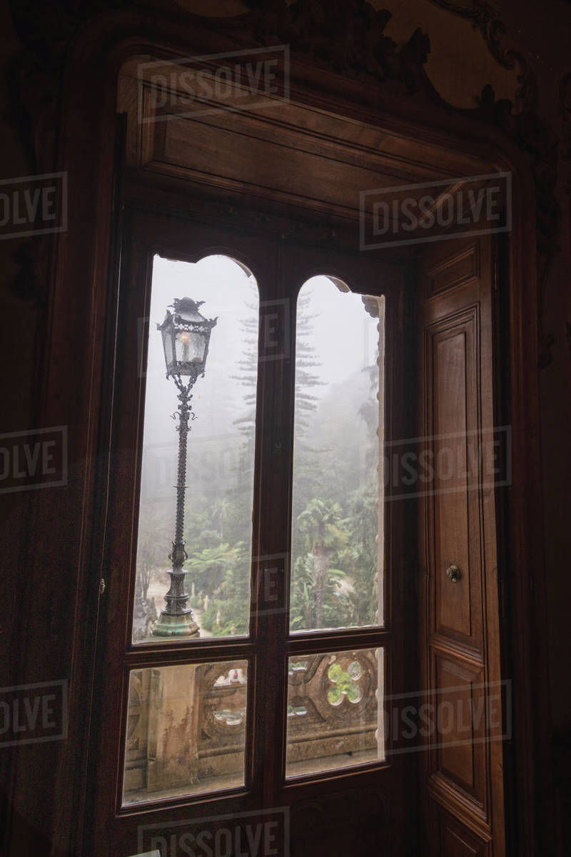 Regaleira palace window with Fog Royalty-free stock photo