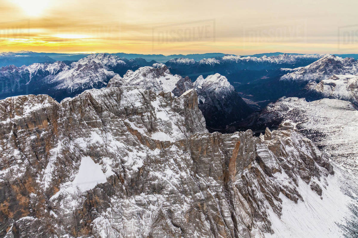 Aerial view of Monte Civetta at sunset, Ampezzo Dolomites, Veneto Royalty-free stock photo