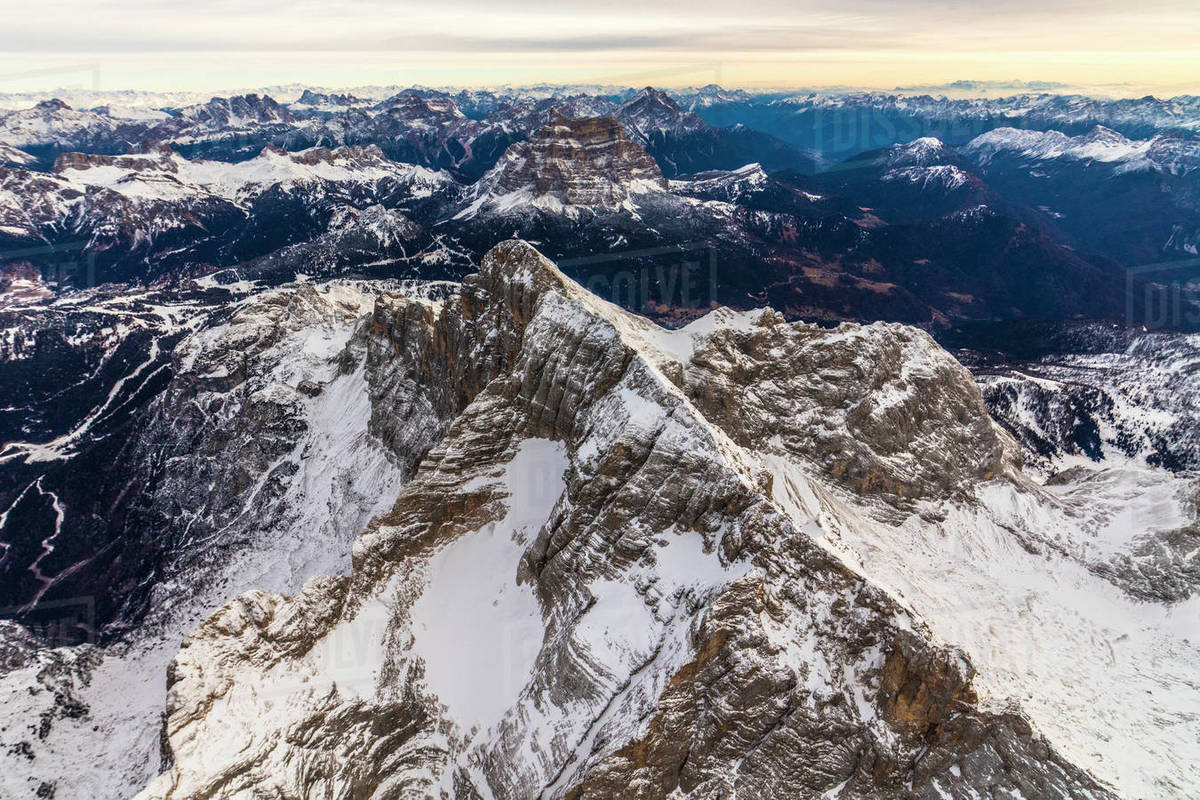 Aerial view of snow covered Monte Civetta, Ampezzo Dolomites, Italy Royalty-free stock photo