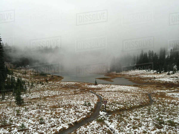 Snow covered landscape during foggy weather Royalty-free stock photo